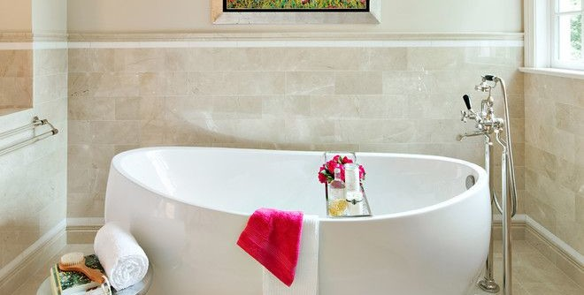 Roman Tub for a Contemporary Bathroom with a Tile Wainscoting and Bathrooms by Clean Design