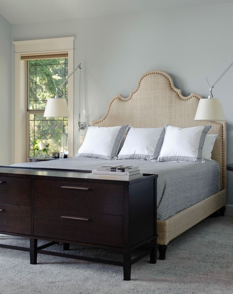 Romanelli and Hughes for a Transitional Bedroom with a Nailhead Detail and North Seattle by Lara Taylor Interiors