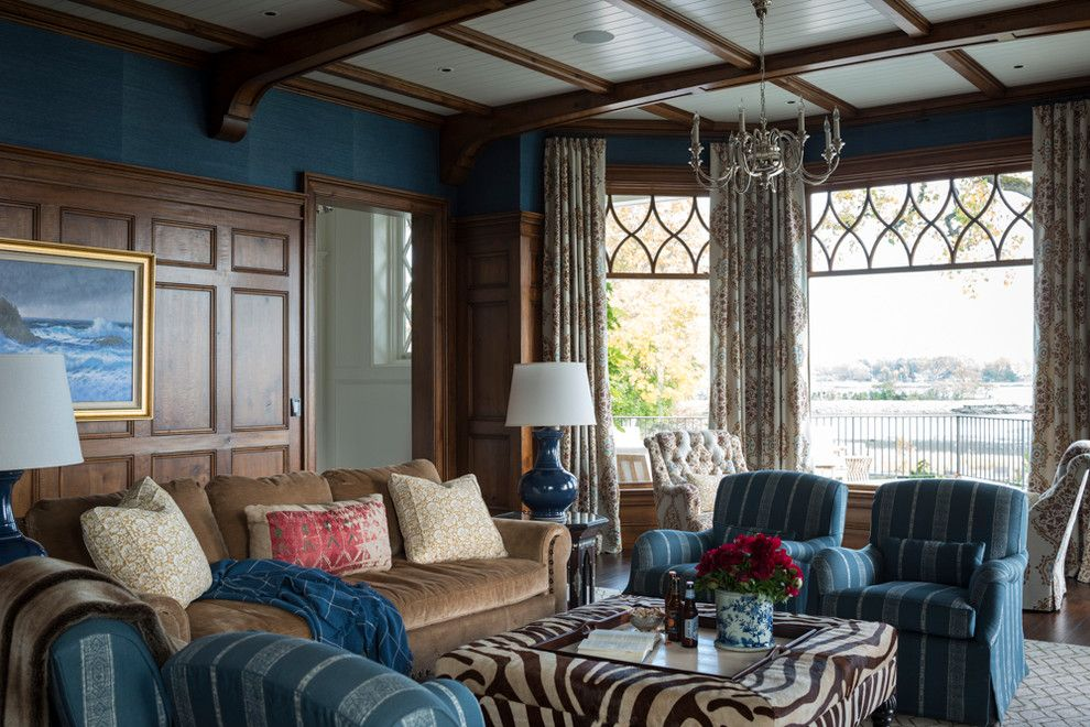 Rose Tarlow for a Traditional Family Room with a Double Hung and Greenwich Waterfront Shingle by Douglas Vanderhorn Architects