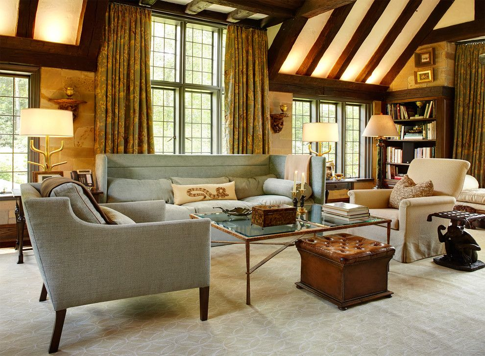Rose Tarlow for a Traditional Family Room with a Neutral and Greenwich Tudor  Saladino Sofa, Rose Tarlow Chairs, Coffee Table From Cls Antiqu by Ellsworth Ford Associates