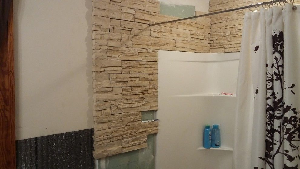 R&r Construction for a Rustic Spaces with a Rustic and Bathroom ,Stone Work by R&r Construction and Mngmnt