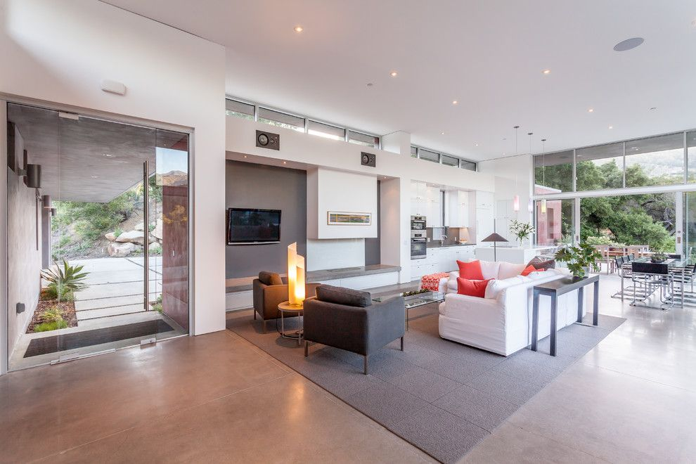 Rrm Design Group for a Contemporary Living Room with a Clerestory Window and Montecito Hills Residence by Rrm Design Group