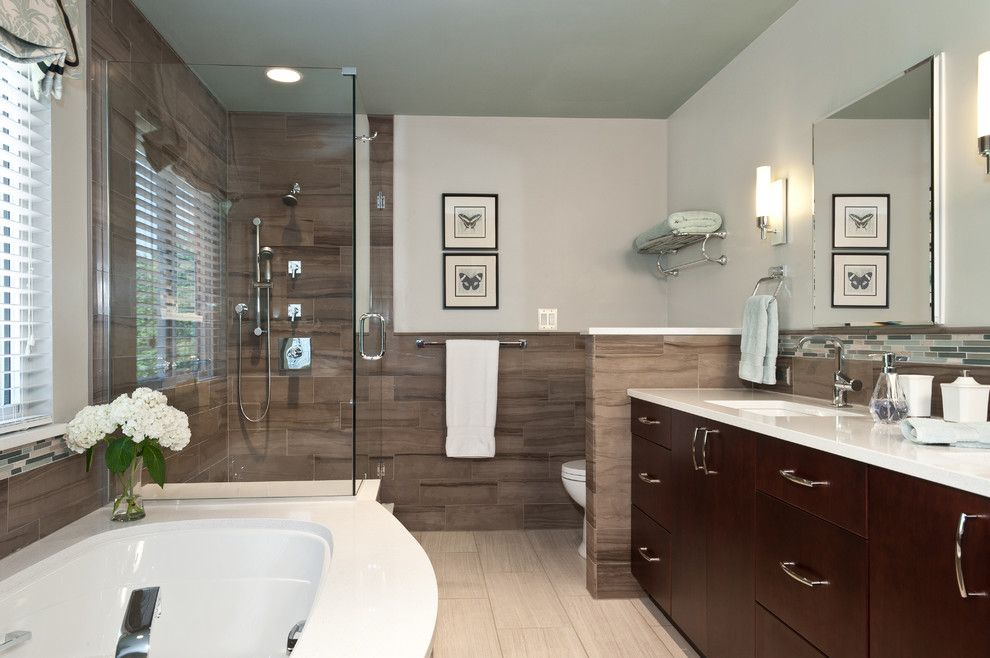 Rsi Kitchen And Bath For A Transitional Bathroom With A Large Subway Tile  And Bridwell Bath