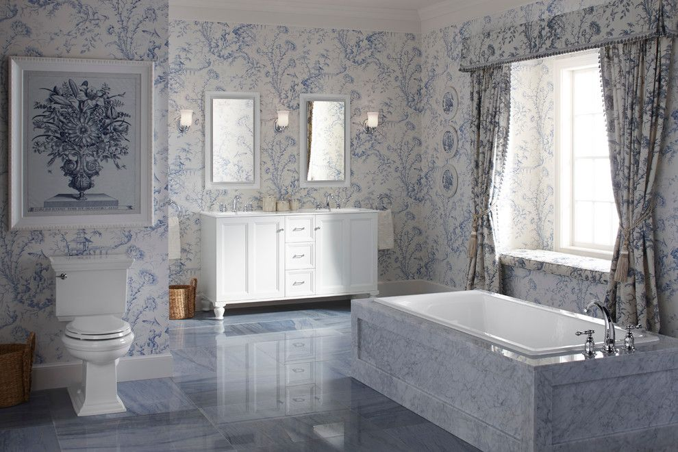 Rudy Furniture for a Traditional Bathroom with a Flower Painting and Kohler Bathroom Vanities by Capitol District Supply