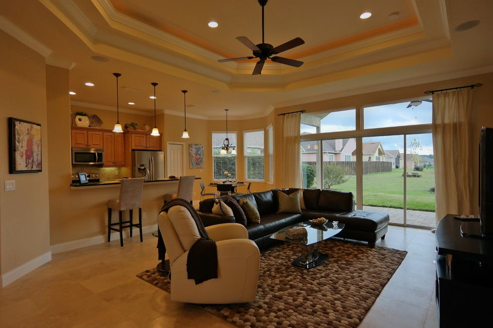 Rugsusa for a Traditional Living Room with a Trey Ceiling and Willow Oak Plantation Model Home by Skobel Homes