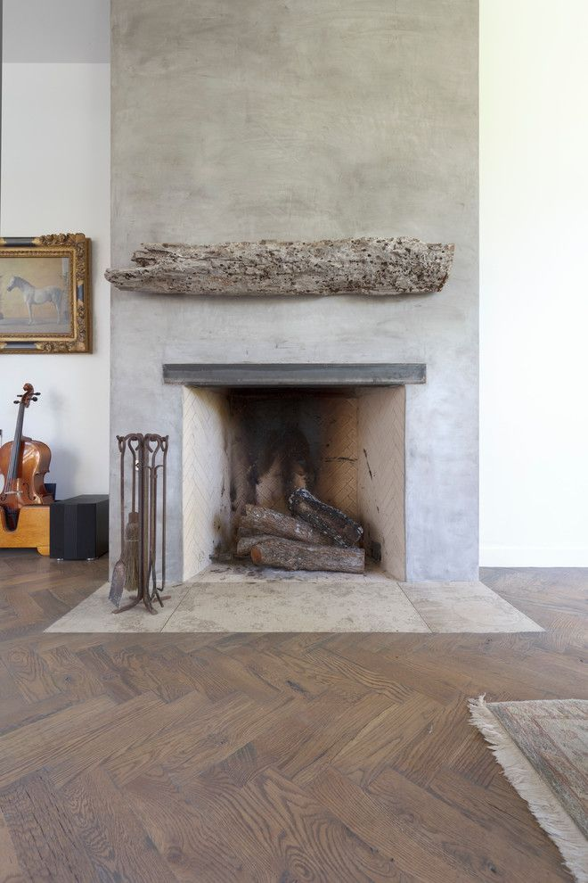 Rumford Fireplace for a Contemporary Living Room with a Mantle Driftwood and Bouldin Creek Residence by Restructure Studio