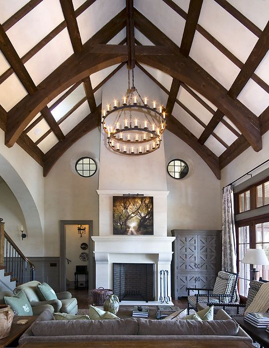 Rumford Fireplace for a Rustic Living Room with a Beams and Pine Grove Point by Wright Design