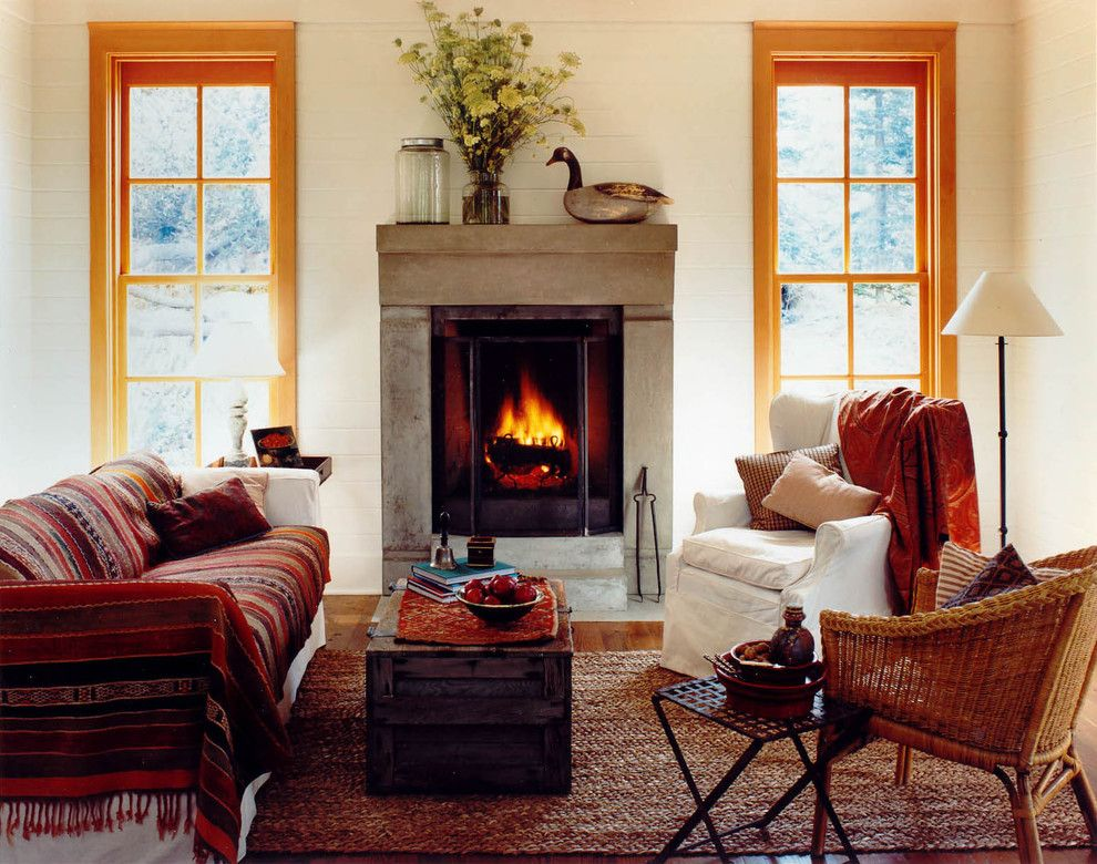 Rumford Fireplace for a Rustic Living Room with a Trunk and Mt. Shadows by Bosworth Hoedemaker