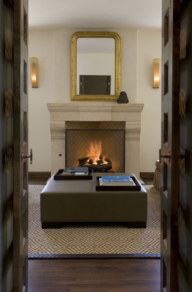 Rumford Fireplace for a Traditional Living Room with a Sconces and Greenlee Fireplace by Hugh Jefferson Randolph Architects