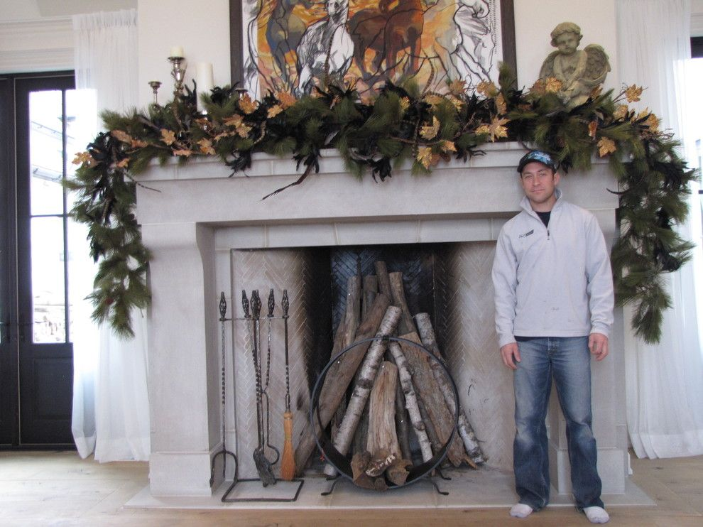 Rumford Fireplace for a Traditional Living Room with a Traditional and Masterpiece by Steves Masonry