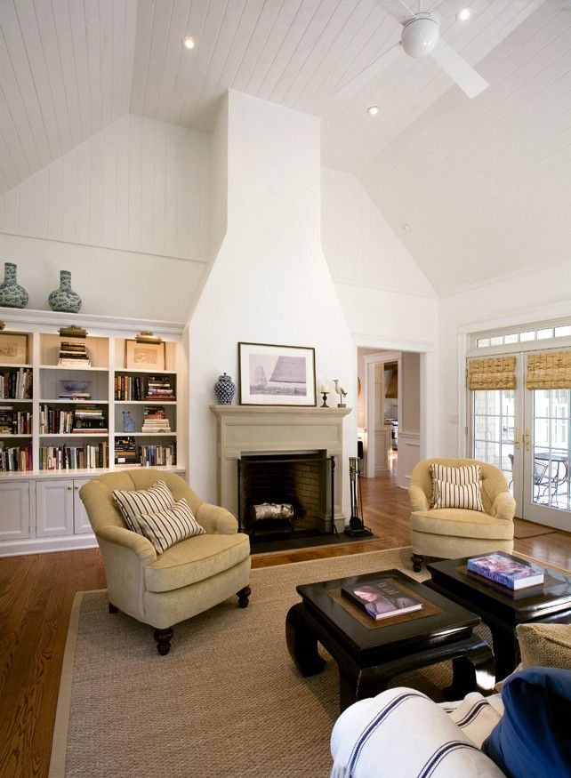 Rumford Fireplace for a Traditional Living Room with a Wood Ceiling and Hudson Valley Cape by Jeff Wilkinson, Ra