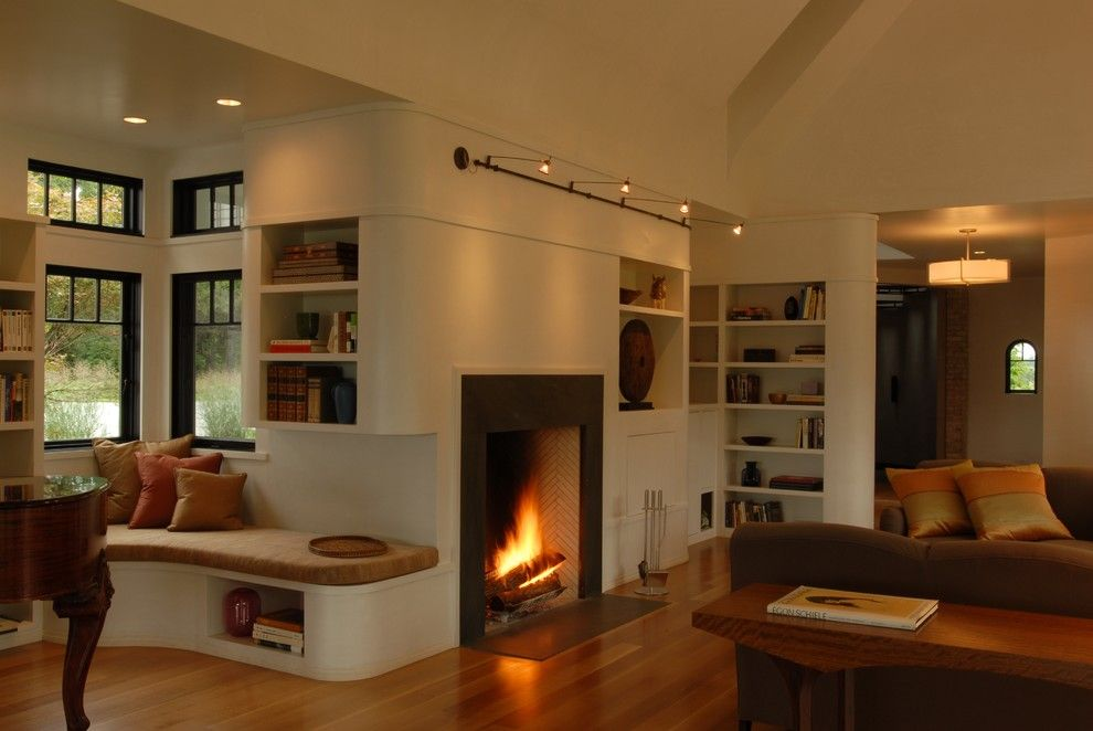 Rumford Fireplace for a Transitional Living Room with a Light Wood Floors and Sitting Room by Nautilus Architects Llc