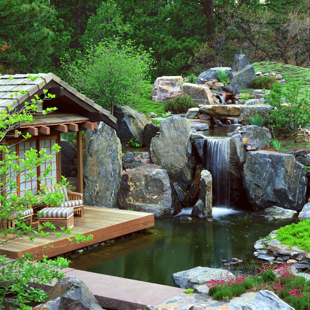 Runnings Bismarck Nd for a Asian Landscape with a Wood Deck and Flowers in Space by Marpa Design Studio