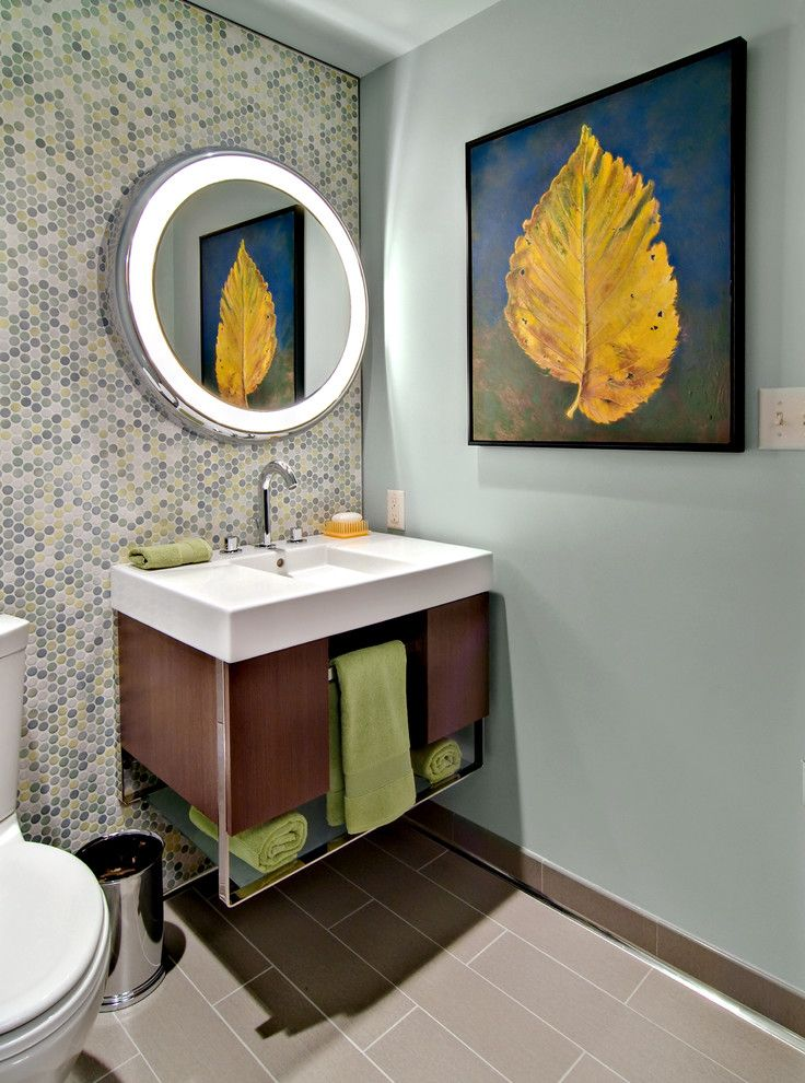 Runnings Bismarck Nd for a Midcentury Powder Room with a Waste Basket and Asid Showcase House 2009 by David Heide Design Studio
