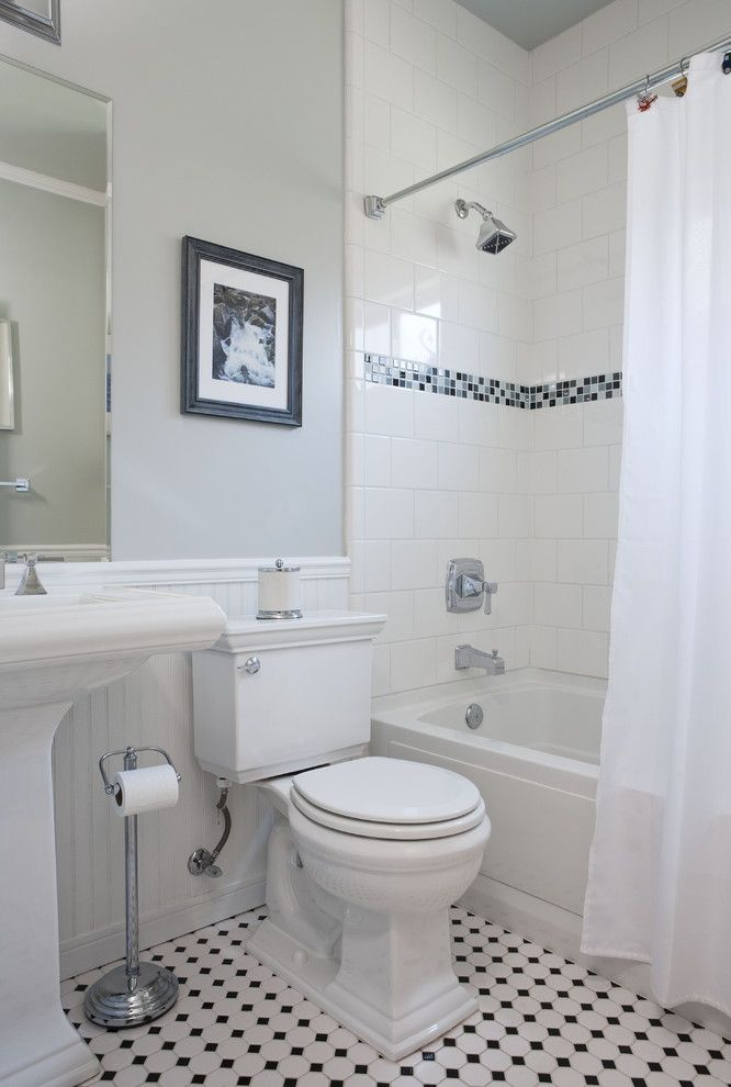 Runnings Bismarck Nd for a Traditional Bathroom with a Tile Stripe and Vintage Bathroom by Sustainable Home