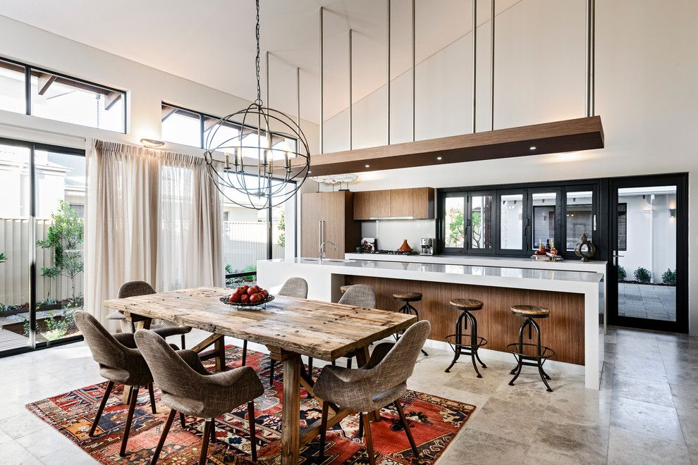 Sallys Store for a Contemporary Dining Room with a Counter Stools and Rbc Bletchley Loft   Dining & Kitchen by Jodie Cooper Design