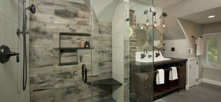 Sam Levitz for a Industrial Bathroom with a Walk in Showers and Master Bath Suite - Washington DC by Ferguson Bath, Kitchen & Lighting Gallery