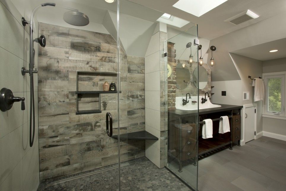 Sam Levitz For A Industrial Bathroom With A Walk In Showers And Master Bath  Suite