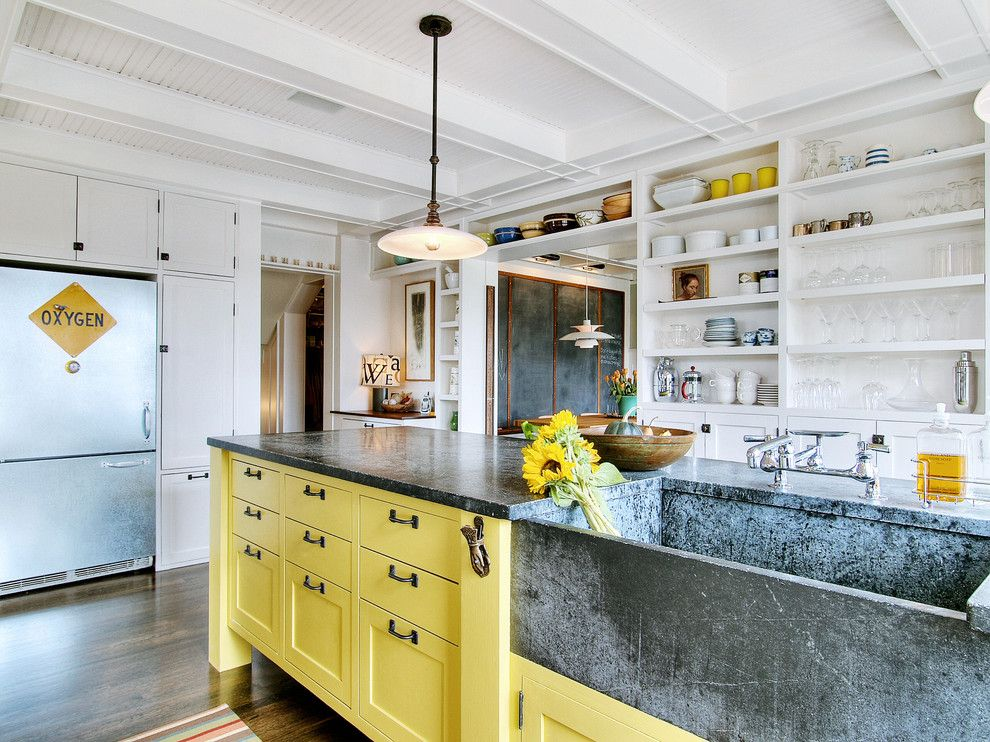 Sam Levitz For A Shabby Chic Style Kitchen With A Stone Kitchen Sink And  Eclectic Kitchen