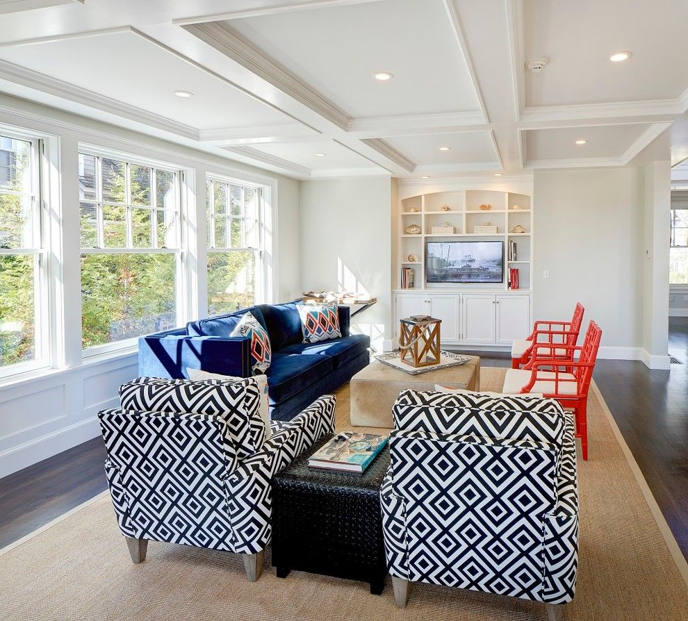 Sam Moore Furniture for a Beach Style Family Room with a Sisal Rug and Edgartown Village Home by Sam Sherman Associates, Llc