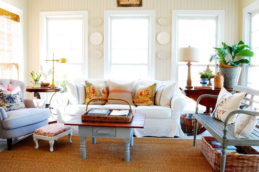 Sam Moore Furniture for a Shabby Chic Style Family Room with a Painted Bench and My Houzz: French Country Meets Southern Farmhouse Style in Georgia by Corynne Pless