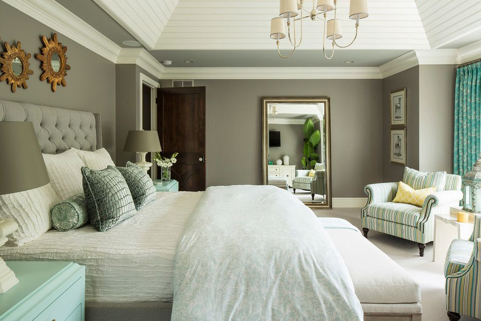 Sam Moore Furniture for a Transitional Bedroom with a Striped Armchair and Minnesota Residence by Martha O'hara Interiors