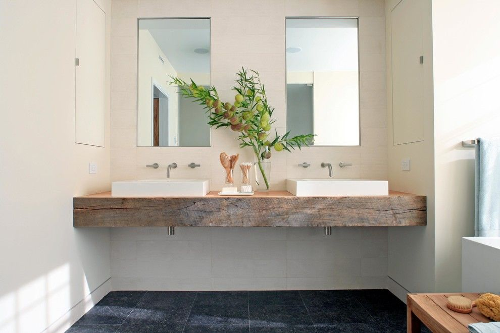 Sanded vs Unsanded Grout for a Contemporary Bathroom with a Charcoal Floor and European Cottage by Burns and Beyerl Architects