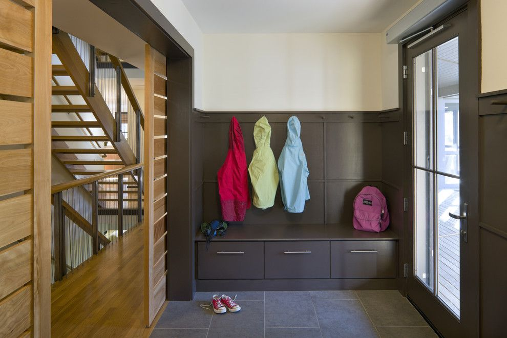 Sanded vs Unsanded Grout for a Contemporary Entry with a Wood Trim and Accessible Leed Residence Mudroom by Lda Architecture & Interiors