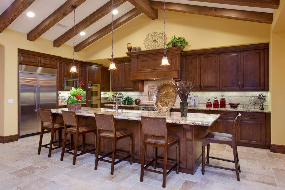 Sanded vs Unsanded Grout for a Mediterranean Kitchen with a Pendant Lighting and Del Sur   Tuscan Winery Kitchen by Mccullough Design Development Inc