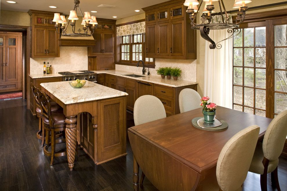 Santa Cecilia Light Granite for a Traditional Kitchen with a Upholstered Dining Chairs and Tudor Kitchen Remodel by Amber