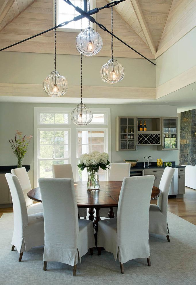 Sarreid for a Contemporary Dining Room with a Slipcovers and Falmouth Residence by Martha's Vineyard Interior Design