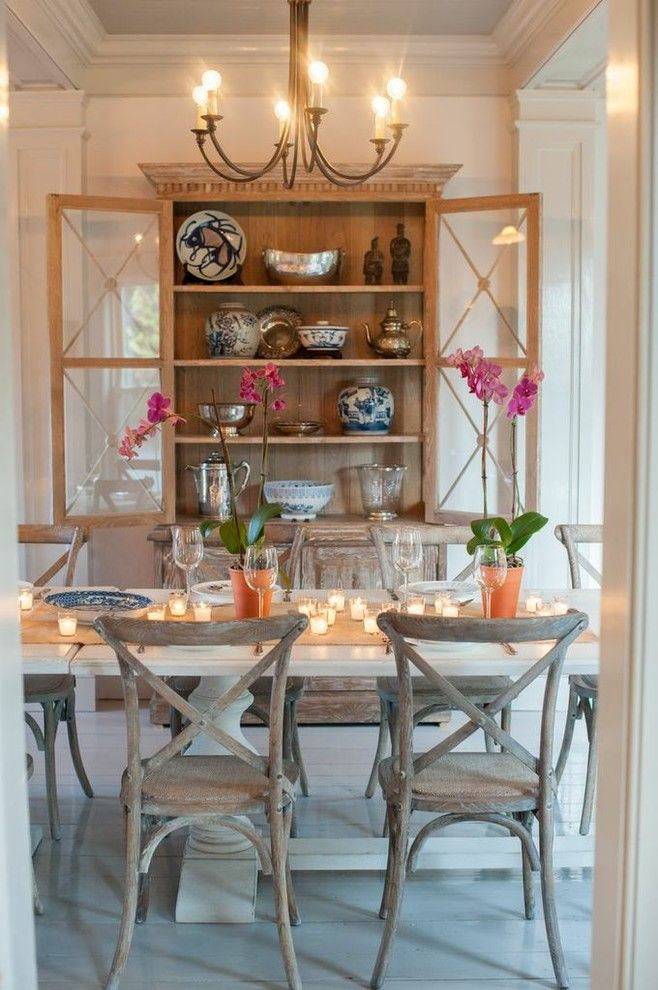 Sarreid for a Farmhouse Dining Room with a Custom and Flanagan Farm Portland Maine by Nastasi Vail Design
