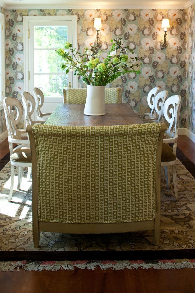 Sarreid for a Transitional Dining Room with a Rustic Table and Dining Room   Grace Home Design by Grace Home Design, Inc.