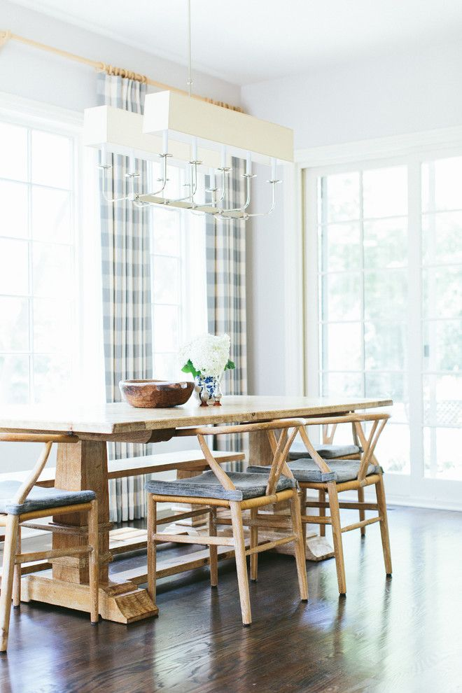Sarreid for a Transitional Dining Room with a Wishbone Chair and Rochester Residence by Kate Marker Interiors