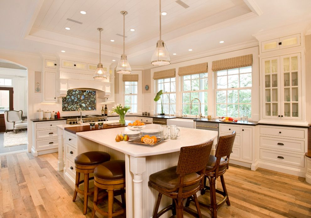 Satco Lighting for a Beach Style Kitchen with a Tray Ceiling and Meriam Hill House by Jw Construction