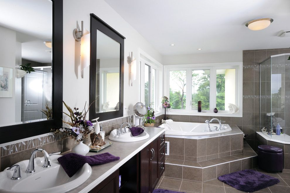 Satco Lighting for a Contemporary Bathroom with a Neutral Colors and Ensuite Bathroom by Cedarstone Homes Limited