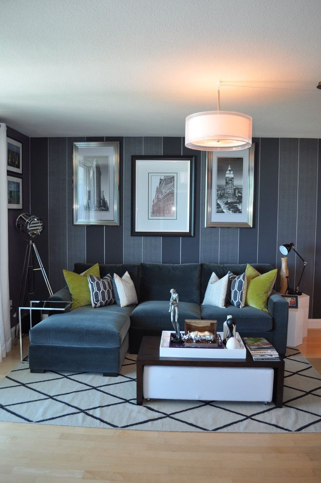 Satco Lighting for a Contemporary Living Room with a Gray Striped Wall and Bachelor Pad Makeover by Nicole White Designs Interiors Llc