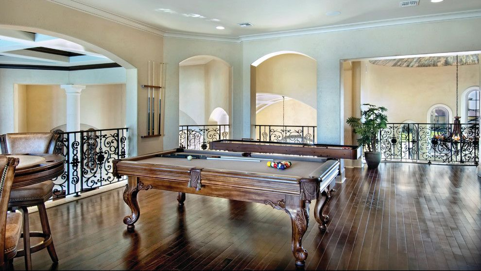 Sater Design for a Mediterranean Family Room with a Bar Table and Sater Design Collection's 6962