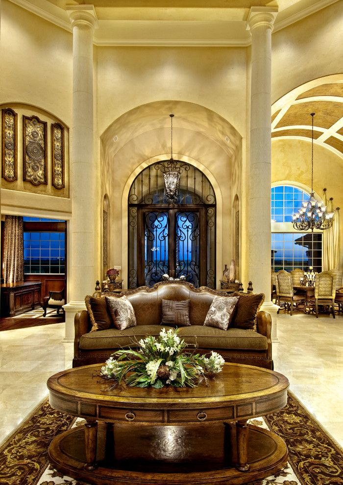 Sater Design for a Mediterranean Living Room with a European and Sater Design Collection's 6962