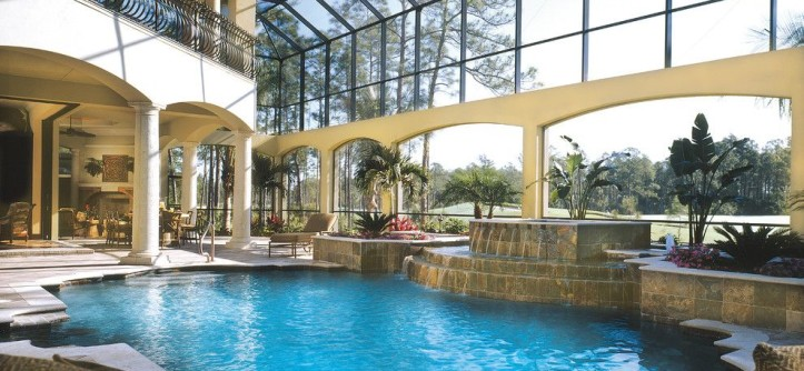 """Sater Design for a Mediterranean Pool with a Courtyard and Sater Design Collection's 6935 """"Casa Bellisima"""" Home Plan by Sater Design Collection, Inc."""