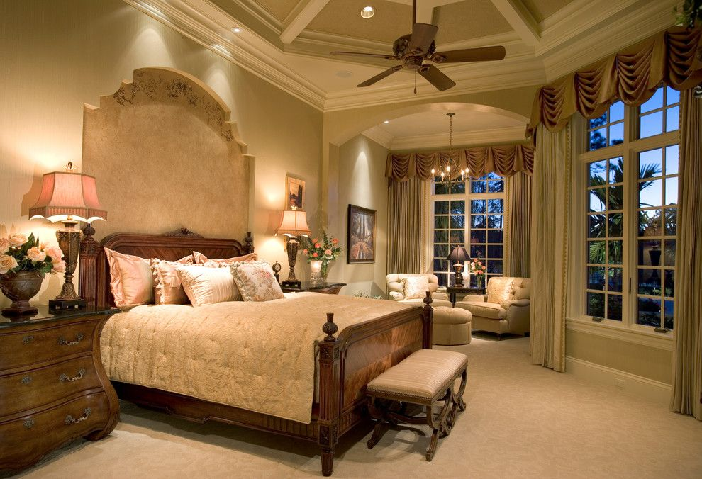"Sater Design for a Traditional Bedroom with a Beige Bedding and Sater Group's ""Cordillera"" Custom Home Plan by Sater Design Collection, Inc."