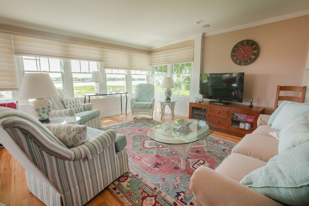 Saybrook Country Barn for a Beach Style Living Room with a Window Treatments and Real Customer Homes by Saybrook Country Barn Interior Design Services