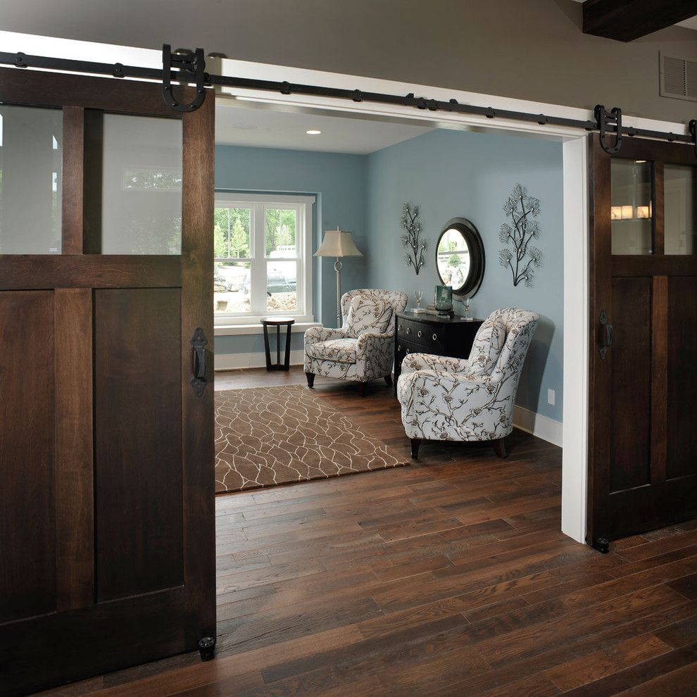 Scheels Home and Hardware for a Rustic Home Office with a Grey Walls and Olentangy Falls ~ Delaware, Oh by Weaver Custom Homes