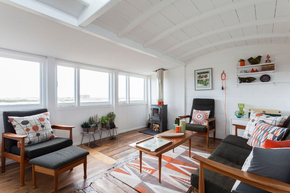 Schewels Furniture for a Scandinavian Living Room with a Design and Victorian Railway Carriage by Chris Snook