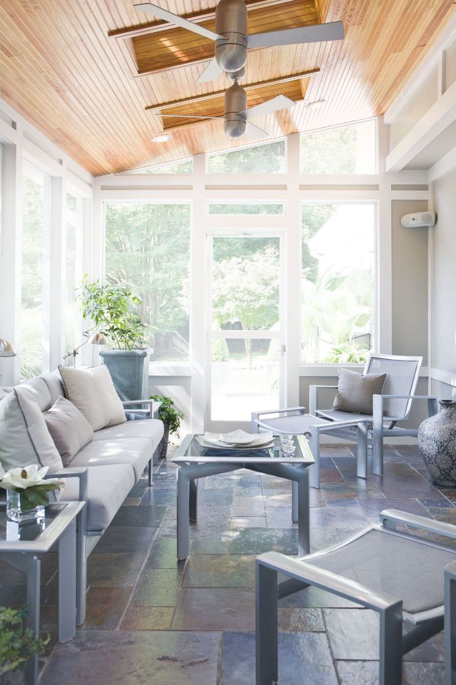 Schewels Furniture for a Transitional Sunroom with a Wood Ceiling and Outdoor Space by Patrick Prudhomme at Sheffield Furniture & Interiors by Sheffield Furniture & Interiors