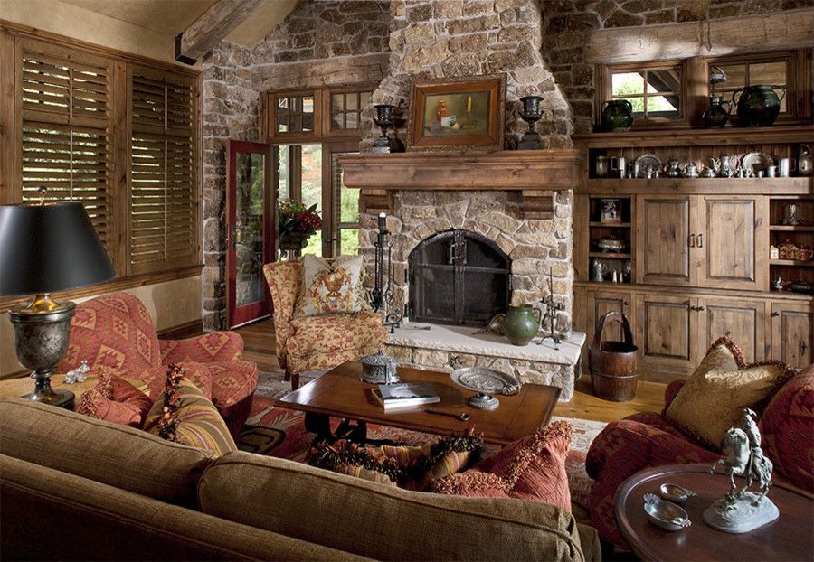 Schmitt Furniture for a Traditional Family Room with a Stone Fireplace and the Woodshop of Avon by the Woodshop of Avon
