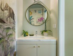 School House Electric for a Contemporary Powder Room with a Elephant Art and Baldwin Duplex by Oonagh Ryan Architects Inc