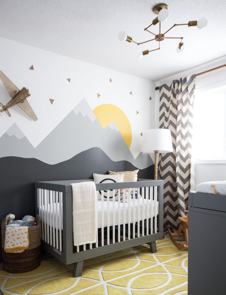School House Electric for a Transitional Nursery with a Mountain Mural and Modern Nursery by Leclair Decor
