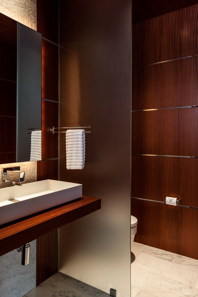 Schroder House for a Contemporary Bathroom with a Trough Sink and Bordeaux Residence by Stocker Hoesterey Montenegro