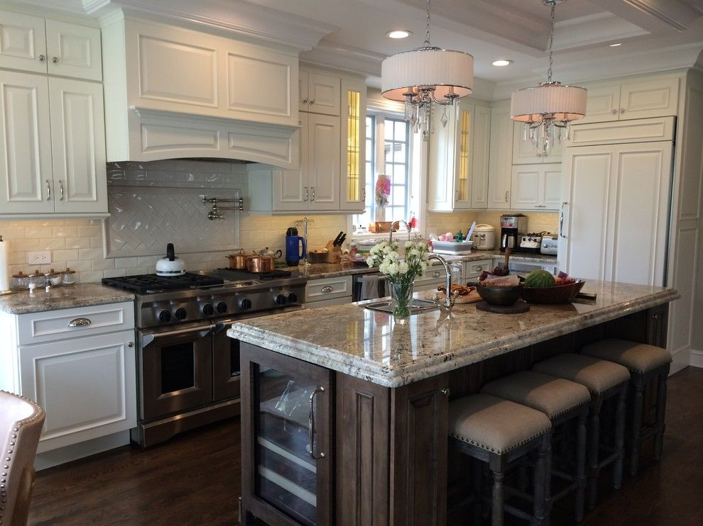 Schuler Cabinetry for a Transitional Kitchen with a Kitchen Islands Carts and Schuler Cabinetry   Sheffield Door in Divinity Paint and Eagle Rock Island by Lynda Mauro Schuler Cabinetry